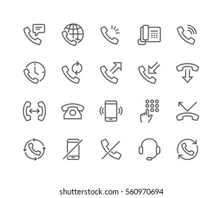 Simple Set of Phone Related Vector Line Icons.  Contains such Icons as Global Calls, Online Support, Mobile Phone and more. Editable Stroke. 48x48 Pixel Perfect.