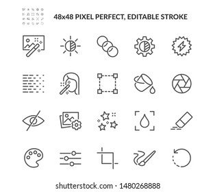 Simple Set of Photo Editing Related Vector Line Icons. Contains such Icons as Brightness, Filter, Diaphragm and more. Editable Stroke. 48x48 Pixel Perfect.