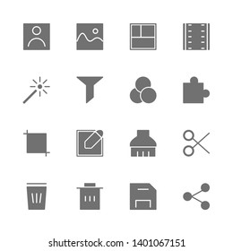 Simple Set of photo or video editing Related Vector flat solid Icons. Contains such as filter, portrait, landscape, film, edit, corp, write, cut, delete, save, share and more. isolated illustration