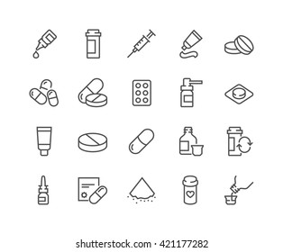 Simple Set of Pills Related Vector Line Icons.  Contains such Icons as Gel, Inhaler, Prescription, Syrup and more.  Editable Stroke. 48x48 Pixel Perfect.