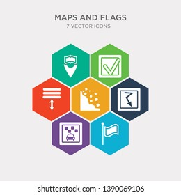 simple set of plain flag, taxi stop, electrocution risk, rock landslide safety icons, contains such as icons spacing, mark, reading zone and more. 64x64 pixel perfect. infographics vector