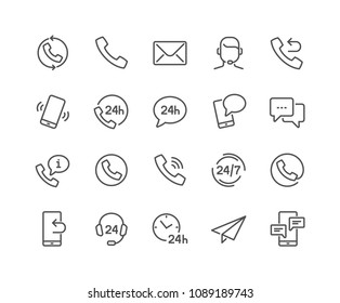 Simple Set of Processing Related Vector Line Icons. Contains such Icons as Support, Chat, Callback and more.\nEditable Stroke. 48x48 Pixel Perfect.
