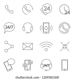 Simple Set of Processing Related Vector Line Icons. Contains such Icons as Support, Chat, Callback and more. Flat design