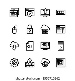 Simple Set of programming Related Vector Line Icons. Contains such Icons as code, security, upload, ram, mouse, lock, server, download, computer, gear, firewall, global, cpu.