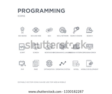Simple Set Programming Vector Line Icons Stock Vector