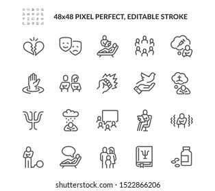 Simple Set of Psychology Related Vector Line Icons. Contains such Icons as Family Relationship, Group Therapy, Addiction and more. Editable Stroke. 48x48 Pixel Perfect.