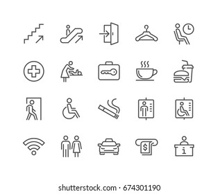 Simple Set of Public Navigation Related Vector Line Icons.  Contains such Icons as Cloakroom, Elevator, Exit, Taxi, ATM and more. Editable Stroke. 48x48 Pixel Perfect.