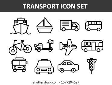 Simple Set of Public Transport Related Vector Line Icons.Editable Stroke. 48x48 Pixel Perfect.