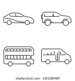 Simple set of public transport vector thin line icons. Car auto truck bus jeep