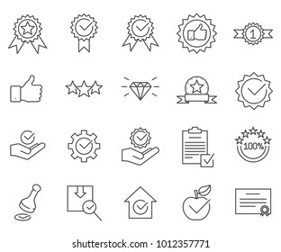Simple Set of quality Related Vector Line Icons. Contains such Icons as print, certificate, star rating, product, reliability, luxury and more.