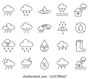 Simple Set of rain Related Vector Line Icons. Contains such Icons as storm, overcast, clouds, storm, umbrella, flood and more.