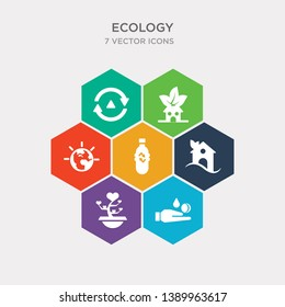 simple set of raindrop on a hand, tree of love, house, recycled bottle icons, contains such as icons energy globe, eco house, recycle arrows and more. 64x64 pixel perfect. infographics vector