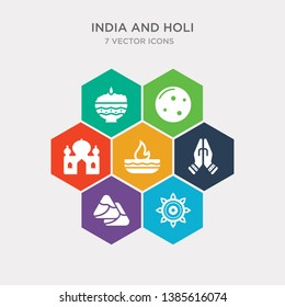 simple set of rangoli, samosa, namaste, oil lamp icons, contains such as icons taj mahal, full moon, phirni and more. 64x64 pixel perfect. infographics vector