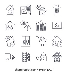 Simple Set of Real Estate Related Vector Line Icons.  Contains such Icons as plan, contract, agent, lock and more. Editable Stroke