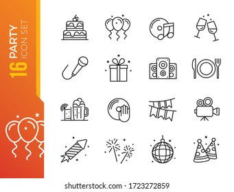 Simple Set of Related Vector Line Icons. Contains such Icons as Bouquet of Flowers, Karaoke, Dj, Masquerade and more.