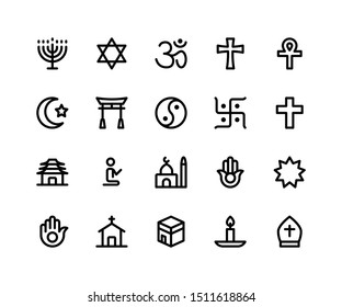 Simple Set of Religion Related Vector Line Icons. Contains such Icons as menorah, hinduism, ankh, muslim and More. pixel perfect vector icons based on 32px grid. Editable Strokes