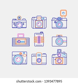 Simple Set of Retro camera icons. Contains icons as classic camera, camera and more.