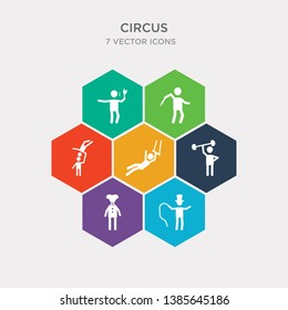 simple set of ringmaster man, clown man, strongman man, trapeze artist icons, contains such as icons hoop knife throwing fire eater and more. 64x64 pixel perfect. infographics vector