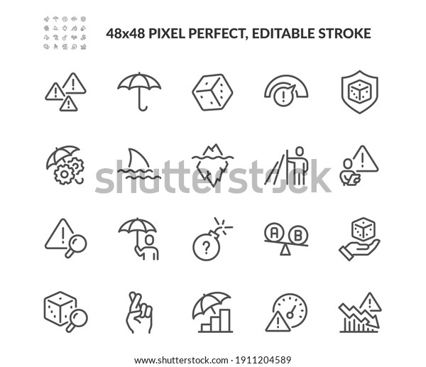 Simple Set of Risk Management Related Vector Line Icons.  Contains such concept Icons as Threat Analysis, Warnings, Risk Assessment and more. Editable Stroke. 48x48 Pixel Perfect.