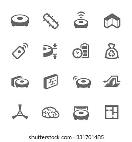 Simple Set of Robot Cleaners Related Vector Icons for Your Design.