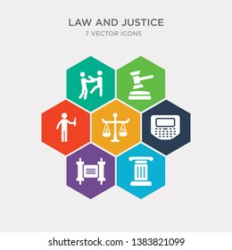 simple set of roman law, scroll with law, stenographer, tax law icons, contains such as icons terrorism, veict, violence and more. 64x64 pixel perfect. infographics vector