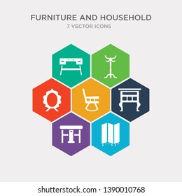 simple set of room divider, gateleg table, lowboy, rocking chair icons, contains such as icons mirror, coat stand, desk and more. 64x64 pixel perfect. infographics vector