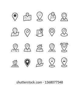 Simple Set of Route Related Vector Line Icons. Maps Pin icon. Navigation icons set. Brochure map