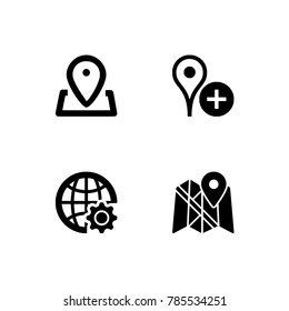 Simple Set of Route Related Vector Line Icons.  Contains such Icons as Map with a Pin, Route map, Navigator, Direction and more.  Black & white icons. Transparent background.