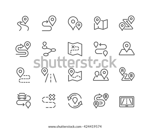Simple Set of Route Related Vector Line Icons.  Contains such Icons as Map with a Pin, Route map, Navigator, Direction and more.  Editable Stroke. 48x48 Pixel Perfect.
