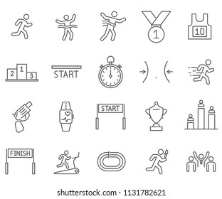 Simple Set of run Related Vector Line Icons. Contains such Icons as competition, tournament, podium, champion, sports, stadium and more.
