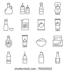 Simple Set of sauce Related Vector Line Icons. Contains such Icons as ketchup, mustard, olive oil and more.