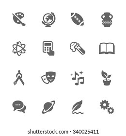 Simple Set of School Subject Related Vector Icons. Contains such icons as art, math, music, and more. Modern vector pictogram collection.
