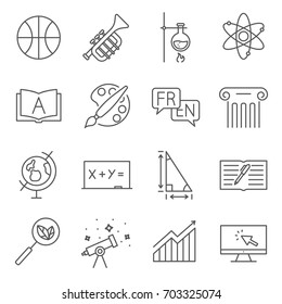 Simple Set of school subjects Related Vector Line Icons. Contains such Icons as chemistry, physics, geography, mathematics, foreign languages, geometry and more.