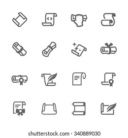 Simple Set of Scrolls and Papers Related Vector Icons. Contains such icons as scroll, gift card, diploma and more. Modern vector pictogram collection.