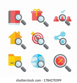 Simple Set Search Vector Color Icons. Color with Editable stroke