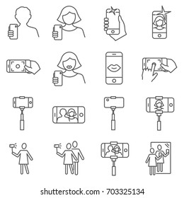 Simple Set of selfie Related Vector Line Icons. Contains such Icons as  photo, snapshot, picture, smartphone and more.
