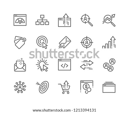 Simple Set of SEO Related Vector Line Icons. Contains such Icons as Increase Sales, Traffic Management, Social Networks and more. Editable Stroke. 48x48 Pixel Perfect.
