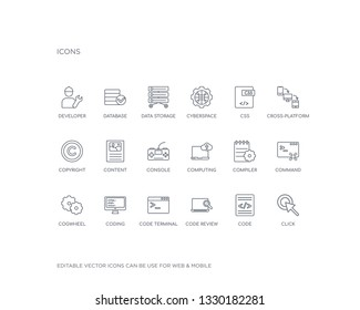 simple set of seo vector line icons. contains such icons as click, code, code review, code terminal, coding, cogwheel, command, compiler, computing and more. editable pixel perfect.