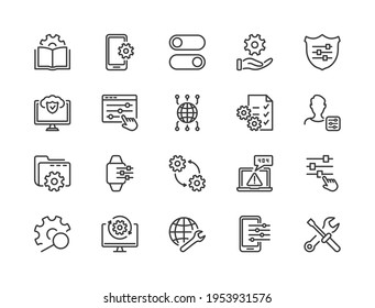 Simple Set of Setup, Repair and Settings. Gear, Screwdriver and Wrench line icons. Tech Support, Settings and Options related Vector line icons set. Editable Stroke. Vector illustration.
