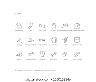 simple set of sew vector line icons. contains such icons as french curve, glue, glue stick, hot glue, ironing board, jacket, jeans pocket, knit, leather and more. editable pixel perfect.