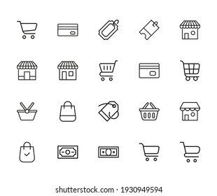 Simple set of shop modern thin line icons. Trendy design. Pack of stroke icons. Vector illustration isolated on a white background. Premium quality symbols.