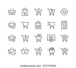 Simple Set of Shopping Cart Related Vector Line Icons.  Contains such Icons as Express Checkout, Mobile Shop, Add, Refresh and more. Editable Stroke. 48x48 Pixel Perfect.