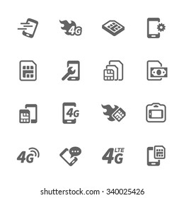 Simple Set of Sim Cards Related Vector Icons. Contains such icons as prepaid phone, simcard, 4g and more. Modern vector pictogram collection.