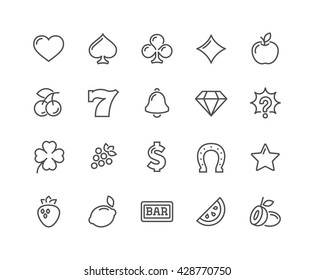 Simple Set of Slot Machine Vector Line Icons.  Contains such Icons as Four-Leaf Clover, Diamond, Fruits and more.  Editable Stroke. 48x48 Pixel Perfect.