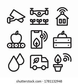 Simple Set Smart Farm Vector line Icons