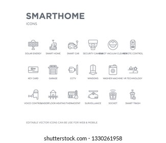 simple set of smarthome vector line icons. contains such icons as smart trash, socket, surveillance, thermostat, underfloor heating, voice control, vr technology, washer machine, windows and more.