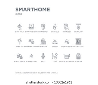 simple set of smarthome vector line icons. contains such icons as intercom, jalousie automation, light, meter, power button, remote vehicle, security code, security system, sensor and more. editable