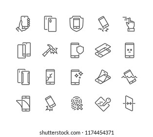 Simple Set of Smartphone Protection Related Vector Line Icons. \nContains such Icons as Screen Protector, Delicate Touch, Tempered Glass and more. Editable Stroke. 48x48 Pixel Perfect.