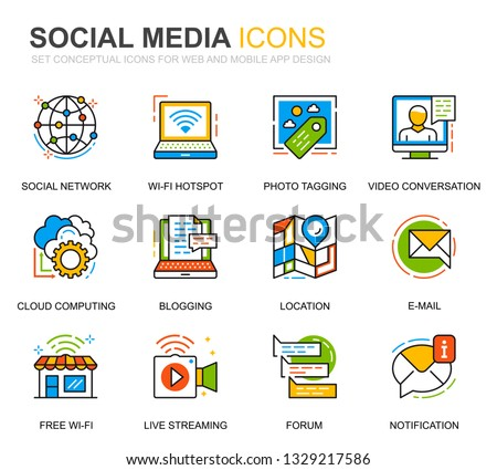 Simple Set Social Media Network Line Stock Vector (Royalty