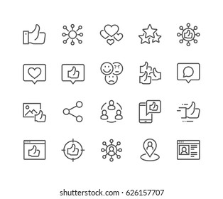 Simple Set of Social Networks Related Vector Line Icons.  Contains such Icons as Profile Page, Rating, Social Links and more. Editable Stroke. 48x48 Pixel Perfect.
